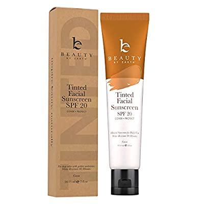 Tinted Sunscreen for Face - SPF 20 With Natural & Organic Ingredients Broad Spectrum Sunblock Lotion, Tinted Moisturizer Zinc Oxide Sunscreen Face for Skincare, Facial Sunscreen