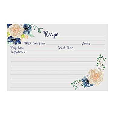 Recipe Cards (Set of 50) Floral Design - Size 4x6 Blank Cards, Double Sided, Great for Bridal Shower, Baby Shower, and Housewarming