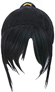HLZG Short Black Ponytail Wig For Vanellope Von Schweetz Cosplay Costume Hair