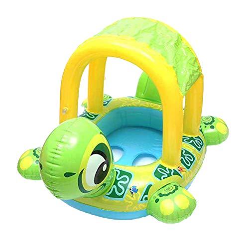 BSTEle Flotador de natación de Tortuga Inflable para bebé con toldo para sombrilla, Bonito Anillo de natación de Tortuga, Juguetes de Piscina para niños y niñas