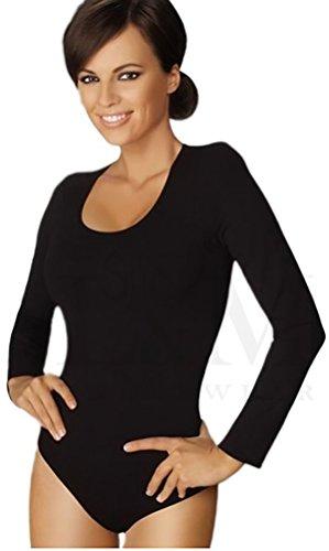 Gatta, body L a maniche lunghe con scollo rotondo, elevato comfort senza cuciture laterali Nero  L