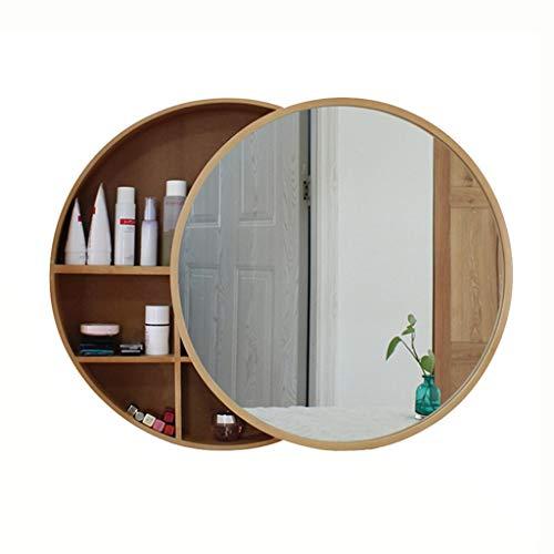 Spiegelkasten Massief hout badkamer muur opknoping opbergkast badkamer rond, schuifdeur + gesloten deur
