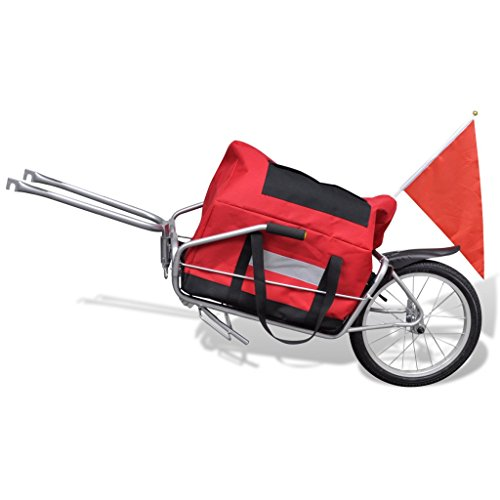 Best Price Daonanba Bicycle Cargo Trailer One-Wheel with Storage Bag Useful Cargo Transport Carrier Red