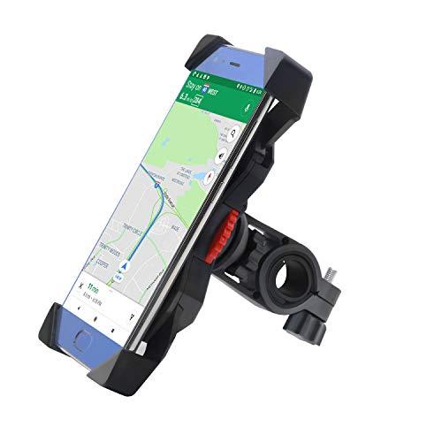 Soporte Móvil Bicicleta,FEYG Universal Soporte Movil Bici Moto Soporte Para Teléfono Celular Rotación 360 Para Accesorios Para Bicicletas Compatible con 3,5 a 6,5 (Negro)