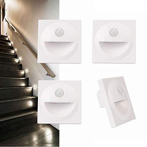 Arote 4 x LED Treppenlicht mit Bewegungsmelder Wandeinbauleuchte Wandleuchte Wandeinbaustrahler Stufenlicht Beleuchtung Lampe, für 60er Schalterdosen, 230V warmweiß