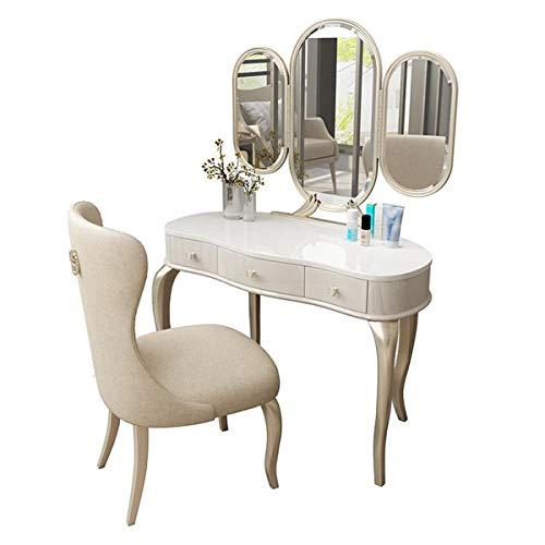 Vanity-Tabelle Set Mit 3-Fach-Make-Up-Spiegel & Hocker, Schminktisch Mit 3 Schubladen Organizer Schmuckkosmetik, Schminktisch Für Wohnung Schlafzimmermöbel