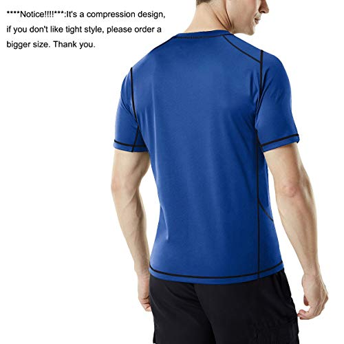 MEETYOO Kompressionsshirt Herren, Laufshirt Kurzarm Funktionsshirt Atmungsaktiv Sportshirt Männer T-Shirt für Running Jogging Fitness Gym - 3