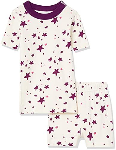 Moon & Back by Hanna Andersson Juego de Pijama Corto de 2 Piezas. Conjunto, Estrella Rosa Oscuro, 3 años