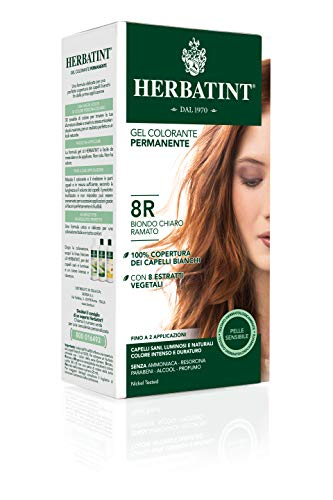 Herbatint Gel permanente para el color del cabello 8R / rubio claro, 150 ml