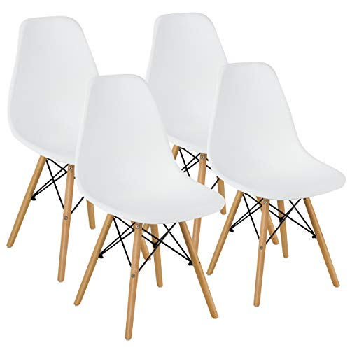 GOFLAME DSW Dining Chairs, Shell Plastic Chairs with Wood Legs, Modern Style Armless Chairs for Living Room Kitchen Bedroom, Eiffel DSW Style Side Chairs with Ergonomic Backrest Set of 4, White