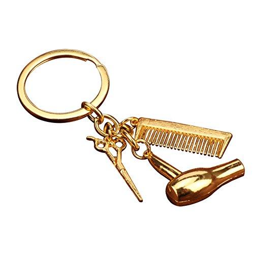 Lovemay Friseur Schlüsselanhänger Trockner Schere Kamm Anhänger Schlüsselring Schlüsselhalter für Vater Ehemann Freund (Gold)