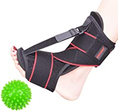 Plantar Fasciitis Night Splint Foot Drop Orthotic Brace, Adjustable Elastic Dorsal for Plantar Fasciitis, Heel, Achilles Tendonitis and Ankle Foot Pain With Massage Ball and Double Fixed Elastic Strap