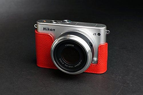 Nikon ニコン Nikon 1 J3 用本革カメラケース&バッテリーケース付ストラップ 各種カラー (カメラケース&バッテリーケース付ストラップ, レッド)