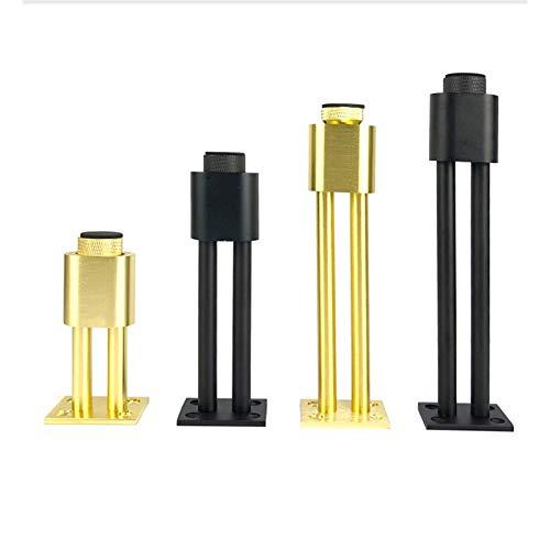 RTYUI Juego de 4 patas ajustables de 5 mm, patas de gabinete de mesa, cama de metal y patas de aleación de aluminio, con tornillos (dorado/negro) (color: oro, tamaño: 30 cm)