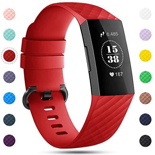 Onedream Kompatibel für Fitbit Charge 3/ Charge 4 Armband für Damen Herren, Silikon Sport Ersatzarmband Kompatibel für Fitbit Charge 4/ Charge 3/ Special Edition Uhr Tracker, Zubehör Armband Rot