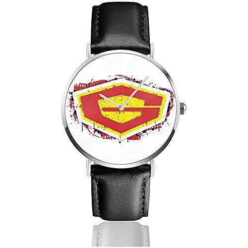 G Force Guardian of Space Watches Reloj de Cuero de Cuarzo con Correa de Cuero Negra para Regalo de colección