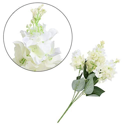 Flores artificiais, 5 cabeças de flores decorativas, flores falsas de plástico de hortênsia, jardim, decoração de casa de casamento
