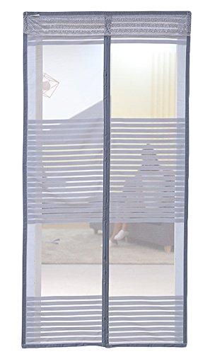 Liveinu Magnet Fliegengitter Tür Insektenschutz Magnet Moskitonetz Fliegenvorhang für Balkontür Wohnzimmer Schiebetür Terrassentür Klebmontage Ohne Bohren Grau 120x210cm