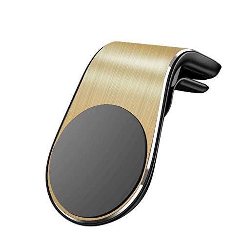 ZHTY Soporte de teléfono de Coche magnético L Forma Soporte de Soporte de ventilación aérea en automóvil GPS TELÉFONO MÓVIL Song (Color : Gold, Size : One Size)
