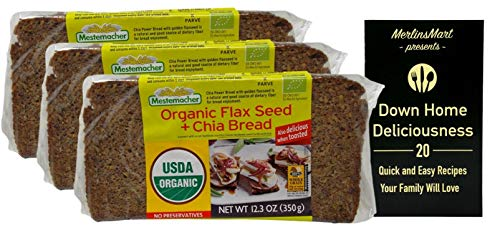 Mestemacher Organic Rye Bread Flax Seed and Chia Seed (12.3 Ounces) - 3 Count Plus Recipe Booklet Bundle