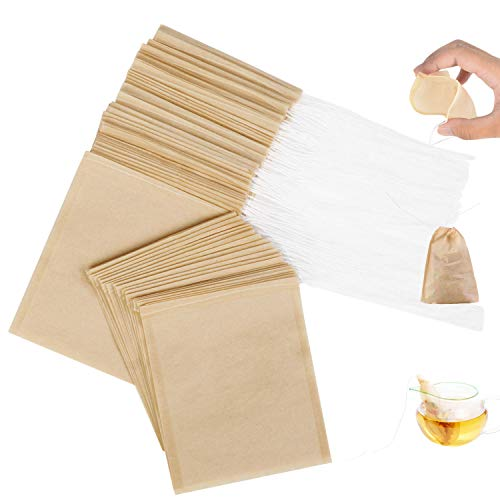 100 Pack Tea Filter Bag, KUTONTECH Tea Bags for Loose Tea,Excellent Permeability Empty Tea Infuser Sachets for Fragrant Tea, Soup Bag, and More(3.14' X 3.93').
