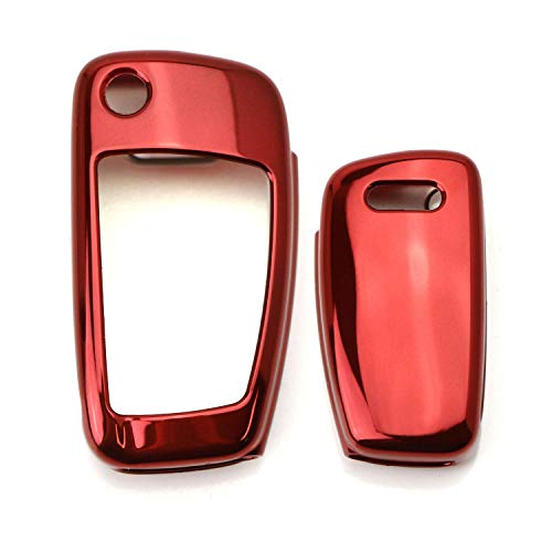 iJDMTOY Chrome Finish Red TPU Key Fob Protective Cover Case Compatible With Audi A3 S3 A4 S4 A6 Q5 Q7 TT R8 Folding Blade Key