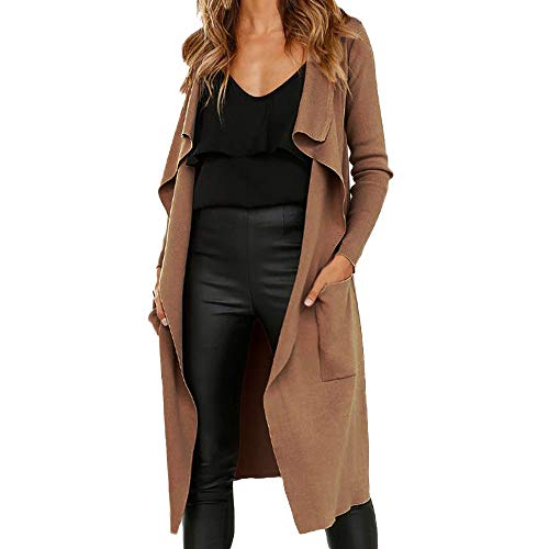 BaZhaHei Damen Mantel Frauen Langarm Leder Open Front Short Cardigan Anzug Jacke Solid Long Coat Tasche Einfarbig Revers Faux Wildleder Strickjacke Mantel