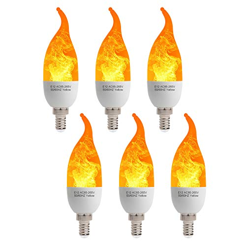 6 Pack LED Fire Flicker Flame Candelabra Light Bulb, E12 2W Flickering Effect 3 Lighting Modes Simulated Emulation/General/Breathing, for Indoor Outdoor Decorations Home Hotel Bar Party - Bent Tip