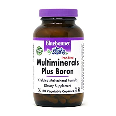 BlueBonnet Multi Minerals Plus Boron No Iron Vegetarian Capsules, 180 Count