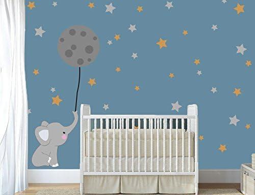 Cartoon Baby Elephant Moon Stars Wall Stickers Kids Baby Room Nursery  Decor