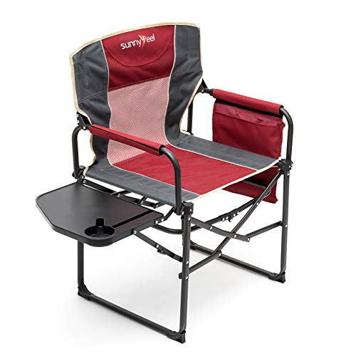 SUNNYFEEL Camping Director Chair, Heavy Duty, Portable Folding Chair with Side Table, Pocket, Handle for Beach/Fishing/Outdoor/Travel/Picnic/Concert, Foldable Table Camp Chairs with Carry Bag (red)