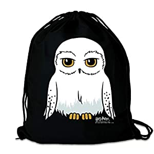 LOGOSHIRT - Harry Potter - Lechuza - Hedwig - Mochila Saco - Bolsa - Negro - Diseño Original con Licencia 25