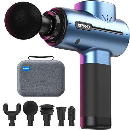 Massagepistole, RENPHO Mini Massage Gun mit bis zu 3200U/min Hand-Percussion-Muskelmassagegerät mit 2500mAh-Akku und Typ-C-Aufladung zur Wiederherstellung von Muskelschmerzen, Blau
