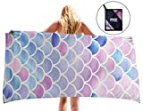 uideazone Mermaid Microfiber Beach Towel for Travel - Beach Blanket Towel Ultra Quick Dry Sand Free Soft Super Water Absorbent Multi-Purpose Beach Throw Travel TowelBest Gifts for Women
