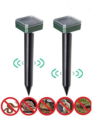 Konety Solar Maulwurfabwehr, 2 Stück IP56 Ultrasonic Solar Maulwurfschreck, Wühlmausschreck Schädlingsbekämpfung,Mole Repellent,Solar Tier Repeller für Draußen Rasen Bauernhof Gartenhöfe