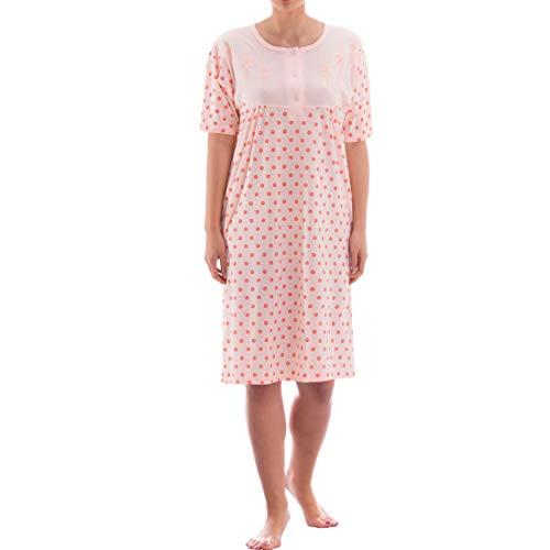 Zeitlos Nachthemd kurzarm mit floralem Rosendruck (M, apricot)