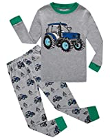 Tractor Little Boys Long Sleeve Pajamas Sets Pants 100% Cotton Sleepwear Size 6