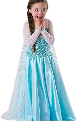 Tante Tina Mädchen Kostüm Eiskönigin - Schneeprinzessin Kostüm für Kinder mit Schleppe - Blau - Gr. 120 (110-116)