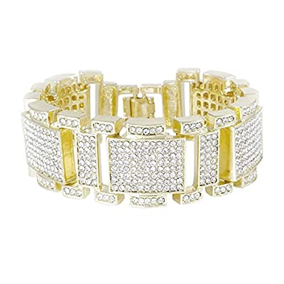 NIV'S BLING – 14K (Yellow/Black/White) Gold Plated Bracelet Iced Cubic Zirconia   Hip Hop Jewelry for Men and Women