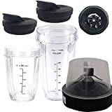 joystar 5piece replacement parts extractor blade with 18oz 24oz cup and spout lid for 1200W Ninja Auto-IQ Smooth Boost Blender:BL490 30/BL491 30/BL492 30/BL492W 30/ BL493Z 30/BL494 30 (20, 20)