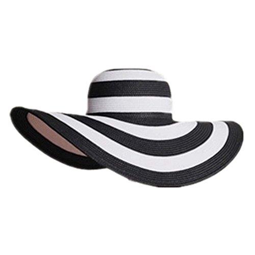Joyfeel buy 1 Pieza de Mujer Summer Sunhat Clásica Elegante Negro Rayas Blancas de ala Ancha Playa Transpirable Straw Sun Hat