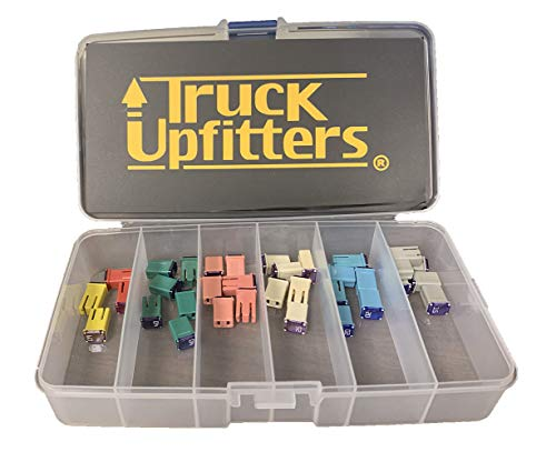 Truck Upfitters 34 pc Automotive MCASE Compatible Mini Box Shaped Cartridge Fuse Kit for Foreign and Domestic Cars, Trucks, and SUVs