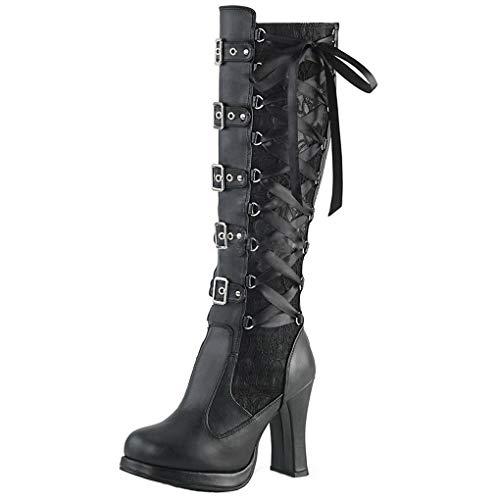 Dorical Langschaft Stiefel für Damen/Frauen Mode Plateau Stiefel mit Hohen Blockabsatz Cosplay...