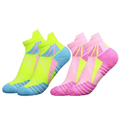 Calzini sportivi delle donne calze colorate Slip Slip Sweat-Wicking Calzini da corsa per allenamento 2Pairs