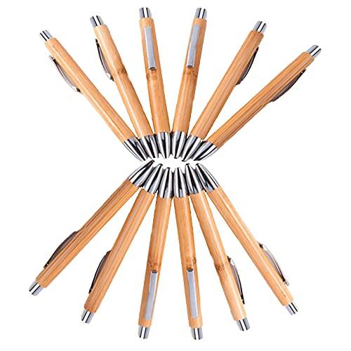 20 Stück Kugelschreiber, Bambus Kugelschreiber, Holz Kugelschreiber Schreibgerät für Den Büroalltag ,Nachhaltig, Ökologisch, Bambus, Weizenstroh, ABS