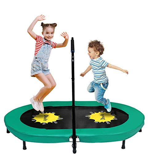 Doufit Trampoline for Kids and Adults with Adjustable Handle, TR-01 Double Jumping Fitness Rebounder Trampoline for Indoor and Outdoor Exercise with Additional Spring Pad