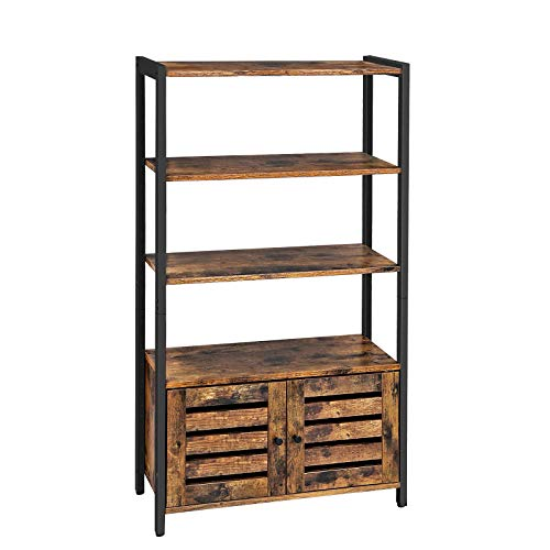VASAGLE LOWELL Bookshelf, Storage Cabinet with 3 Shelves and 2 Louvered Doors, Industrial Bookcase in Living Room, Study, Bedroom, Multifunctional, Rustic Brown ULSC75BX