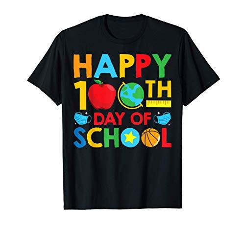 Happy Face Masks Funny 100 Days of School Teacher Gift T-Shirt