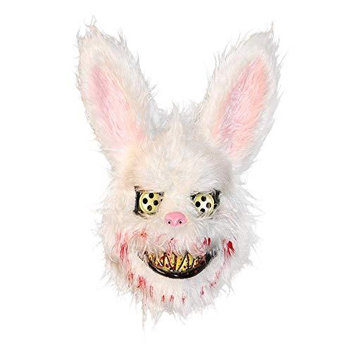 kuaetily Halloween Maske Blutige Plüsch-Hasenmaske Schwarzbärmaske Braunbärmaske Halloween Ghost Festival Mask Für Festival Party Halloween Kostüm Erwachsene (Hase)