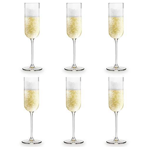 Copa de champán Skava de Libbey – 21 cl/210 ml - set de 6 unidades – forma recta – apta para el lavavajillas
